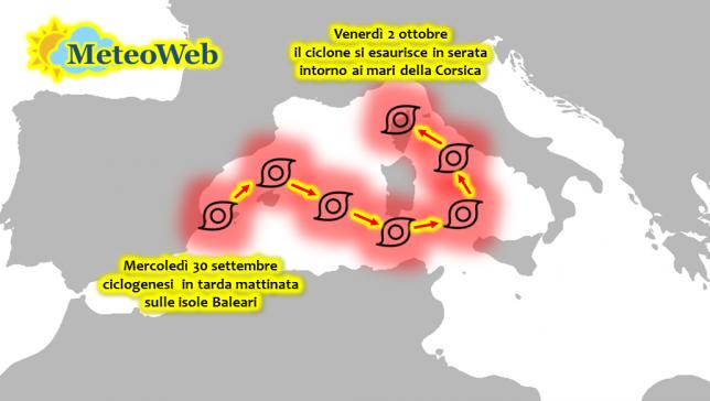 Allerta Meteo, ecco la traiettoria del ciclone in arrivo: nel Tirreno raggiungerà la potenza massima