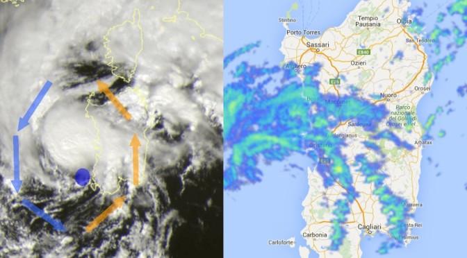 L'occhio del ciclone sta entrando in Sardegna