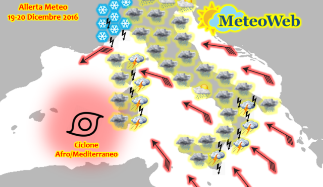 Allerta Meteo, ciclone Afro/Mediterraneo in arrivo: la settimana di Natale inizia con una violenta tempesta in tutt'Italia