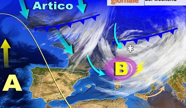 METEO in forte peggioramento nel weekend, tracollo termico. Piogge, temporali e neve
