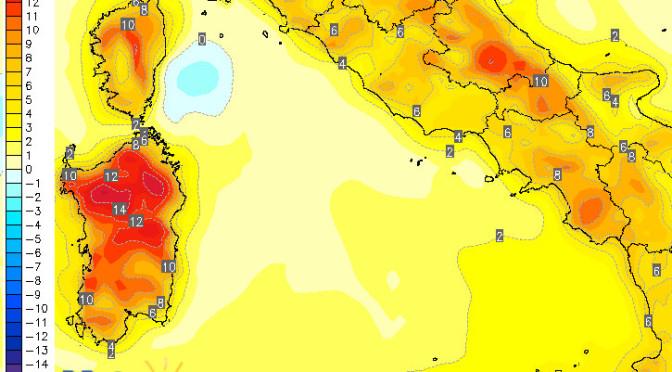 Violento rialzo delle temperature minime nel fine settimana