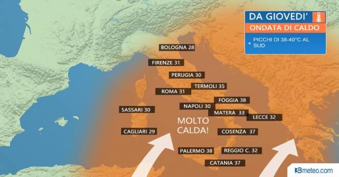 Veloce ondata di caldo giovedì al Centrosud