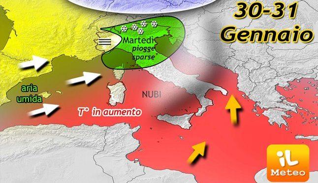 METEO ~ tempo in peggioramento al Centro-Nord, clima meno freddo